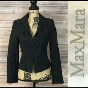 Max Mara Black Tropical Blazer Jacket 6